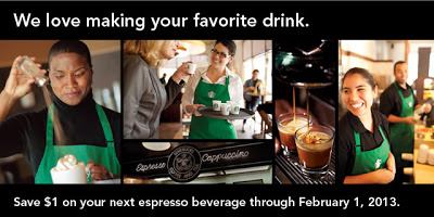 Starbucks: $1 Off Espresso Beverage!