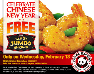 Panda Express: FREE Order of Tangy Jumbo Shrimp 2/13!