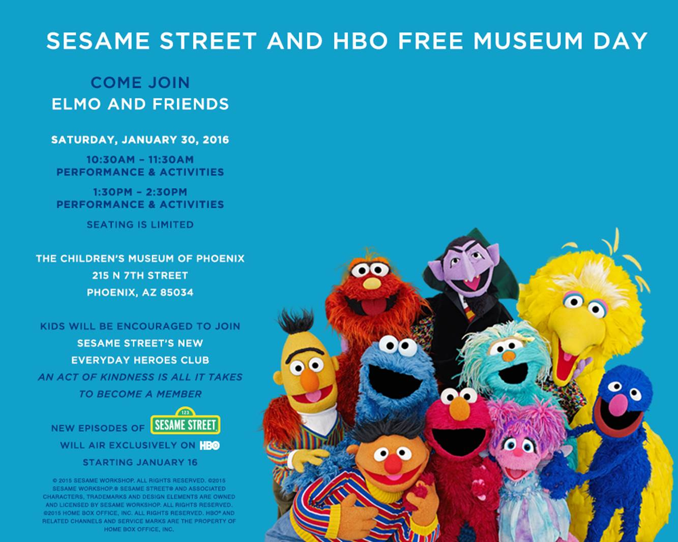 Join Elmo & Friends at the Children's Museum of Phoenix 1/30!