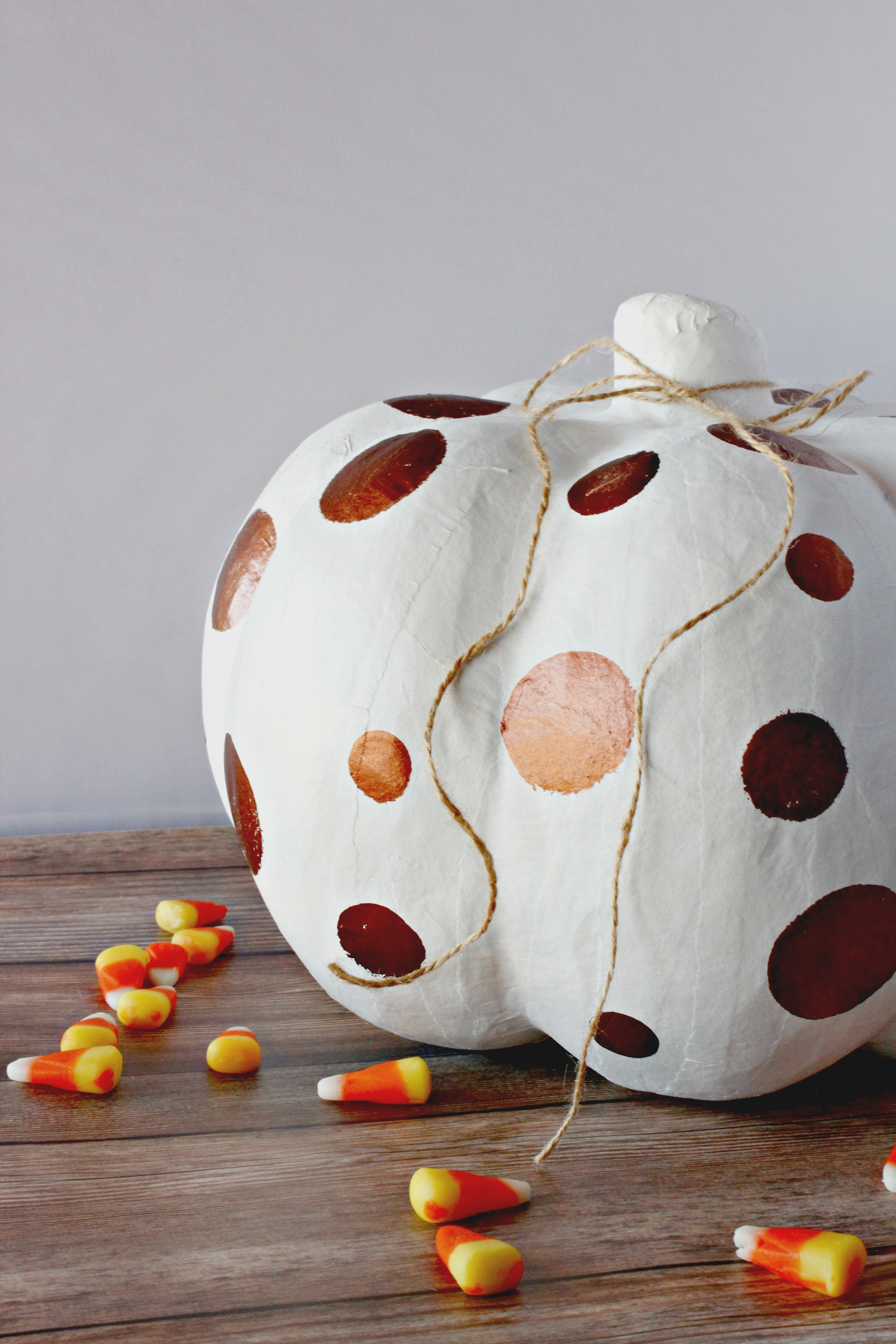 Hand Painted White & Copper Pumpkin