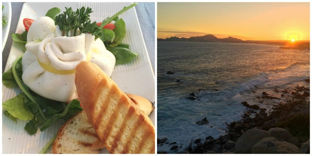 Homemade stuffed burrata and the sunset view from Sunset Da Mona Lisa